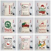 Large Canvas Merry Christmas Santa Sack Xmas Stocking Reindeer Gift Storage Bag