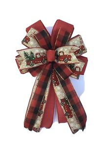 """Wreath Bow For Christmas Farmhouse Truck Red Plaid  Country 10"""""""