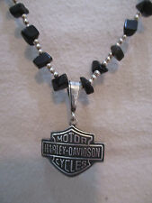 Black Onyx & Silver Beaded Necklace w/Harley Davidson Pendant