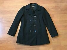 J CREW WOMEN'S WOOL TRENCH PEA COAT DOUBLE BREASTED CHARCOAL GREY SIZE S SMALL