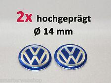 VW Blau 3D Schlüssel 2er Set Key Fob ALU Emblem Logo Aufkleber Sticker Ø 14 mm