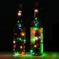 10/15/20LED String Solar Power Copper Cork Shaped Wine Bottle Wire Fairy Lights