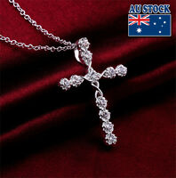 Wholesale 925 Sterling Silver Filled Cross Necklace With Clear SWAROVSKI Crystal