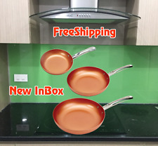 "New INBOX Copper Chef 3 Piece Set includes 8""/10""/12"" round pans FREESHIPPING"