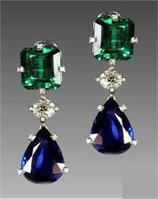 6Ct Pear Blue Sapphire Emerald Synt Diamond Dangle Earrings White Gold Fn Silver