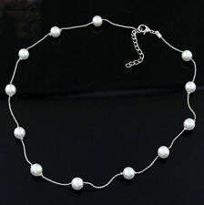Fashion Jewelry Women Pendant Chain Pearl Choker Chunky Statement Bib Necklace