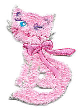 Cat - Kitten - Pink Chenille Winking Cat - Embroidered Iron On Applique Patch