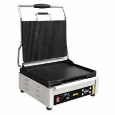 Buffalo Large Single Contact Grill Ribbed Top Silver Colour Stainless Steel