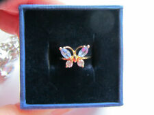 Beautiful butterfly amethyst white topaz carat yellow gold ring size O.