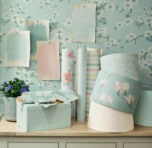 Laura Ashley Iona Duck Egg Wallpaper * FREE DELIVERY *