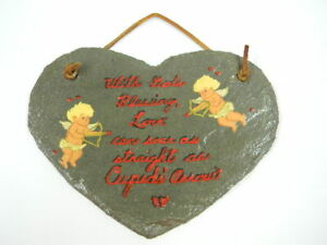 Valentine Heart Cupid's Arrows Hand Painted and Cut Slate Wall Hanging Plaque