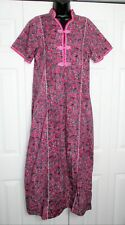 Vintage Long Pink Cotton Nightgown Gown sz M Chinese Frog Closures Euc