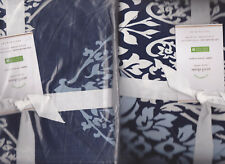 2 pottery barn Avril Std Shams for comforter navy blue cotton percale