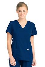 NWT Grey's Anatomy 4153-01 Mock Wrap Scrub Top Indigo/Navy Size XL Orig. $27.95