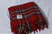 Faribo Faribault Red Tartan Plaid 100% Wool Throw Camp Stadium Blanket 54x50
