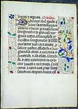 Illuminated medieval BoH lf.3 lg. gold heightened initials & 3 borders,c.1475