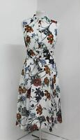 HOBBS Ladies Ivory Multi Belinda Belted Collared Fit & Flare Dress UK18 NEW