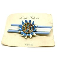 Vintage Cyrillic N Monogram Brooch. Blue And White. On Original Card. 50s.
