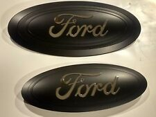 "2017 super duty f250 -f-350 HUGE 14""  EMBLEM set matte black chrome logo"