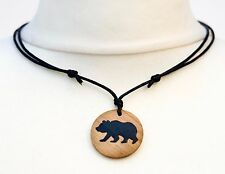 Grizzly Bear Necklace Brown Bear Silhouette Pendant Choker Mens Ladies Jewellery