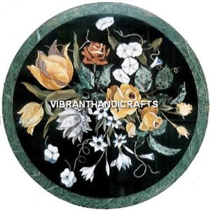 """30"""" Round Green Marble Table Top Inlay Floral Design Marquetry Art Outdoor H3976"""