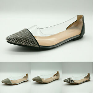 Womens Perspex Ballerina Flat Shoes Clear Ballet Pumps Ladies Sparkly Diamante