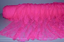"Stretch Allover Lace Hot Pink Floral 60"" Wide Fabric by the Yard"