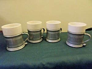 Vintage 4 WILTON PEWTER SET of Armetale Coffee Cup Mugs Ceramic Inserts SIGNED