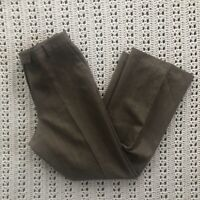 Womens Brooks Brothers Size 8 Brown Wool Dress Pants Trousers Flat Front