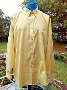 IZOD Men's Shirt 2XL XXL 18 34/35 Yellow 55% Cotton Wrinkle Free Quick Dry Twill