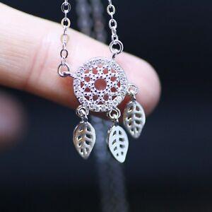 Sparkling Dreamcatcher Necklace Sterling Silver 925 , Cubic Zirconia Pendant