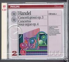 HANDEL 2 CDS SET NEW CONCERTI GROSSI IO 3/ ORGAN CONCERTOS OP 4/ RAYMOND LEPPARD