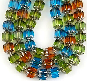 25pcs Mix Olive Aqua Topaz Cathedral Fire Polished Faceted Loose Glass Beads 6mm