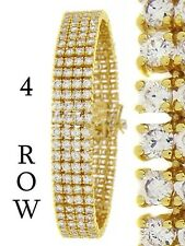 "Men's New Yellow/White Gold Finish 4 Row Diamond Simulate  Bracelet 8.25""  14mm"