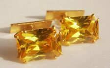 VINTAGE RUSSIAN 875 GOLD GILDED SILVER CUFFLINKS with lab. CITRINE 8 gr