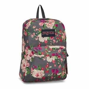 JanSport SuperBreak Backpack - Grey Bouquet Floral, NWT, 100% Authentic
