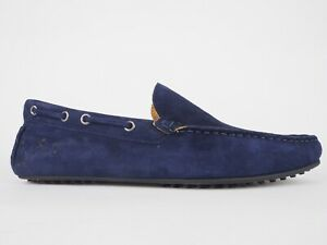Mens Hackett London Soft Driver HMS20690 Navy Suede Slip On Casual Shoes