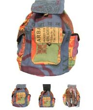 LUNGTA TIBETAN JUTE BACKPACK HAND MADE IN NEPAL FROM RICE BAGS MULTICOLOR UNIQUE