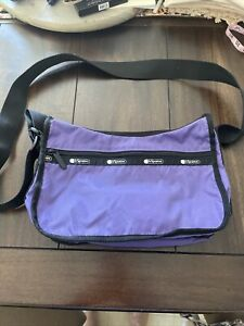 Le SportSac Purple classic hobo crossbody purse bag With Small Zip Up Case