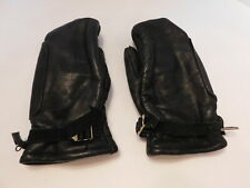 DESIGNER LADIES BLACK LEATHER SKI MITTENS WOOL  LINING SIZE SMALL