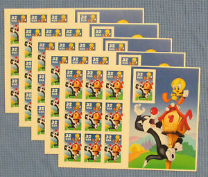 Five Booklets x 10 = 50 of Looney Tunes SYLVESTER & TWEETY 32¢ US Stamps. # 3204