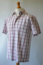 Men's White & Pink Checked Linea Short Sleeved Shirt Size L, Large.