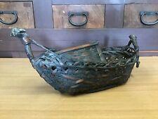 Y0540 Blumenvase Bamboo Schiffsrumpf Form Behälter Japanisch Antik Ikebana Kabin