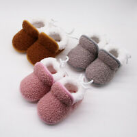 Winter Infant Newborn Toddler Baby Girls Cashmere Plush Boots Bandage Warm Shoes