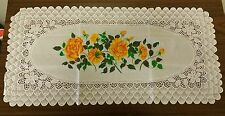 "1 Vinyl Table Doily / Runner 16"" x 33"", YELLOW FLOWERS, FREE SHIPPING"