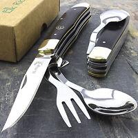 "7.25"" ELK RIDGE WOOD HOBO FOLDING KNIFE w/ FORK & SPOON Utensil Tool Camping"