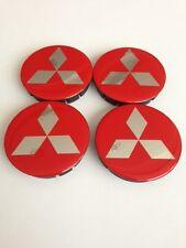 MITSUBISHI 4pcs Plastic Wheel Centre Caps with Silicone Emblem 60mm/55mm NEW