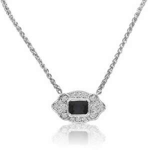 "14K White Gold Filigree Emerald-Cut Sapphire & Diamond Necklace on 18"" Chain"