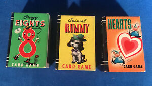 Lot of 3 Vintage 1950's Whitman's Publishing Co. Miniature Card Games