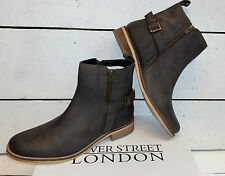 Ladies Silver Street Brown Leather Ankle Boots